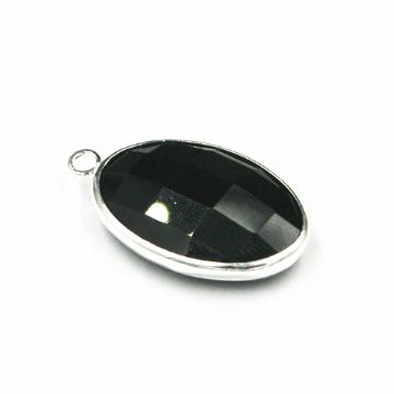 22*15mm Black oval crystal connector - single ring